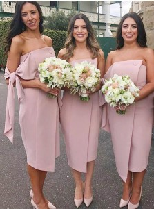 Sheath Strapless Knee Length Blush Satin Bridesmaid Dress