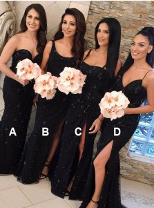Sheath Sweetheart Sweep Train Black Lace Bridesmaid Dress