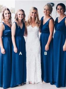 A-Line V-Neck Floor Length Sleeveless Blue Chiffon Bridesmaid Dress