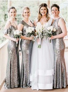 Mermaid Cold Shoulder Silver Sequined Bridesmaid Dress with Ruffles