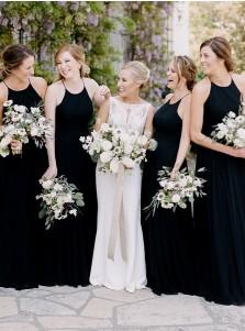 d22c4e8aff3 Sheath Round Neck Sleeveless Floor Length Black Chiffon Bridesmaid Dress
