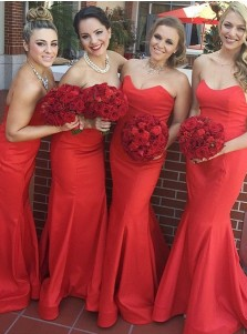 Mermaid Sweetheart Sweep Train Red Satin Bridesmaid Dress
