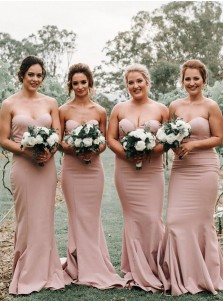 Mermaid Sweetheart Sleeveless Sweep Train Blush Satin Bridesmaid Dress