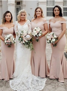 Mermaid Off-the-Shoulder Sweep Train Blush Satin Bridesmaid Dress