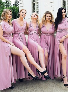 A-Line V-Neck Ankle Length Convertible Style Purple Satin Bridesmaid Dress