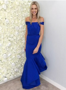 Mermaid Off-the-Shoulder Royal Blue Satin Bridesmaid / Evening Dress with Ruffles