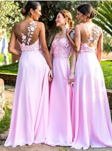 A-Line Illusion Round Neck Pink Chiffon Bridesmaid Dress with Appliques