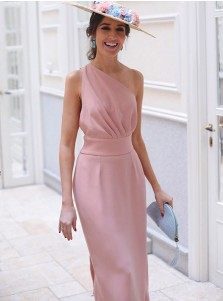 Sheath One Shoulder Tea Length Pink Chiffon Bridesmaid Dress