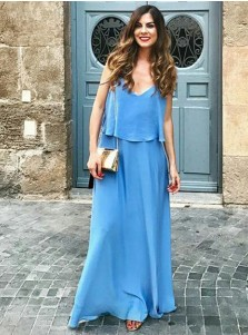 A-Line Spaghetti Straps Long Blue Chiffon Bridesmaid Dress