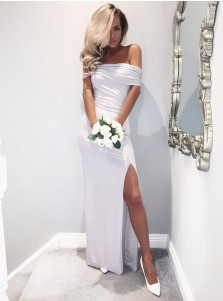 Sheath Off-the-Shoulder Light Grey Long Bridesmaid Dress with Split