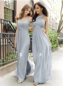 A-Line Cross Neck Floor Length Pleated Grey Chiffon Bridesmaid Dress