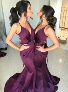 Mermaid V-Neck Sweep Train Grape Satin Bridesmaid Dress