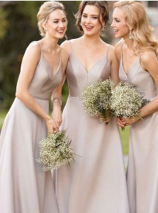 A-Line Spaghetti Straps Floor Length Grey Satin Bridesmaid Dress
