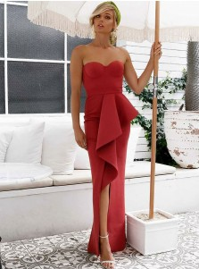 Sheath Sweetheart Floor Length Red Evening Dress with Split Ruffles