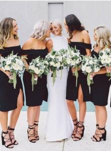 Sheath Off-the-Shoulder Knee Length Black Bridesmaid Dress with Split
