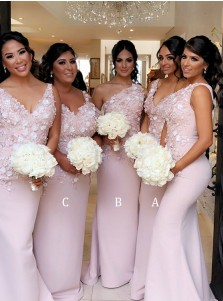 Mermaid V-Neck Sweep Train Pink Satin Bridesmaid Dress with Appliques