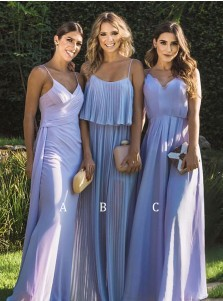 Sheath Spaghetti Straps Sleeveless Lavender Chiffon Bridesmaid Dress