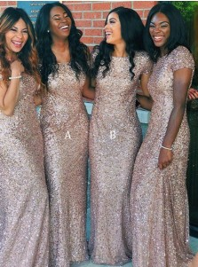 Sheath Off-the-Shoulder Sweep Train Champagne Sequined Bridesmaid Dress