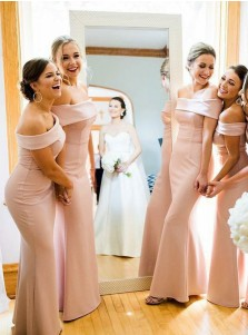 Sheath Off-the-Shoulder Floor Length Pink Satin Bridesmaid Dress