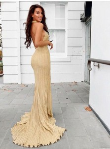 Sheath Halter Backless Long Gold Bridesmaid Dress with Split
