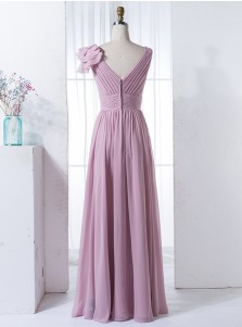 A-Line V-Neck Floor-Length Lilac Chiffon Bridesmaid Dress with Ruffles