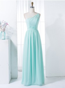 A-Line One Shoulder Floor-Length Mint Green Chiffon Bridesmaid Dress