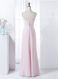 A-Line Straps Pearl Pink Ruched Chiffon Appliques Bridesmaid Dress