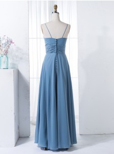 A-Line Spaghetti Straps Blue Chiffon Bridesmaid Dress with Beading