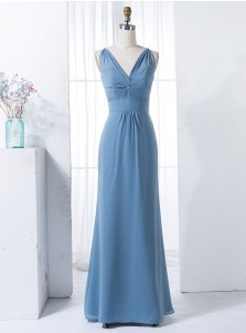 Sheath V-Neck Floor-Length Ruched Blue Chiffon Bridesmaid Dress