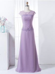 Sheath Bateau Cap Sleeves Lilac Chiffon Bridesmaid Dress with Appliques