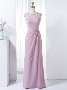 Sheath Bateau Floor-Length Pearl Pink Chiffon Bridesmaid Dress with Lace