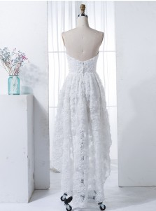 High Low Strapless White Sleeveless Lace Bridesmaid Dress