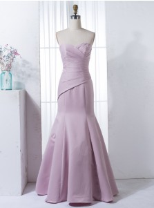 Mermaid Sweetheart Floor-Length Lilac Elastic Satin Bridesmaid Dress