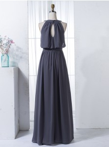 A-Line Round Neck Keyhole Back Grey Chiffon Beaded Bridesmaid Dress