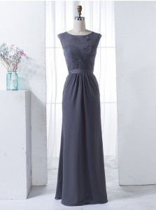A-Line Bateau Cap Sleeves Open Back Grey Chiffon Bridesmaid Dress with Sash