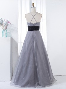 A-Line Spaghetti Straps Floor-Length Grey Tulle Bridesmaid Dress with Appliques