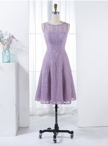 A-Line Scalloped-Edge Sleeveless Short Lilac Lace Bridesmaid Dress