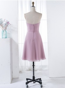 A-Line Sweetheart Short Blush Chiffon Bridesmaid Dress with Ruffles