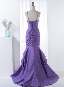 Mermaid Spaghetti Straps Sweep Train Purple Ruched Bridesmaid Dress