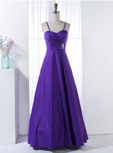 A-Line Spaghetti Straps Floor-Length Purple Beaded Satin Bridesmaid Dress
