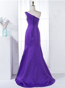 Mermaid One Shoulder Purple Ruched Satin Bridesmaid Dress with Beading