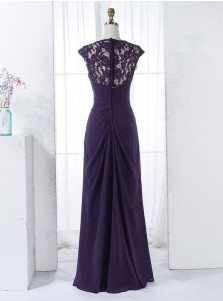 A-Line Round Neck Grape Chiffon Bridesmaid Dress with Beading Lace