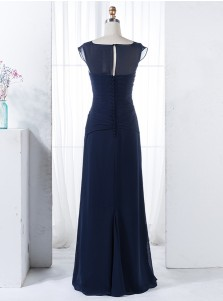 Sheath Round Neck Navy Blue Chiffon Bridesmaid Dress with Beading