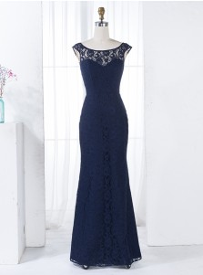 Sheath Bateau Floor-Length Backless Navy Blue Lace Bridesmaid Dress