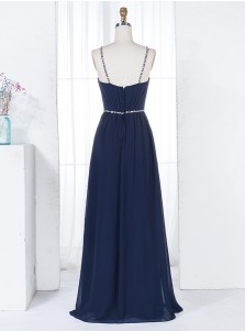 A-Line Straps Floor-Length Navy Blue Chiffon Bridesmaid Dress with Beading