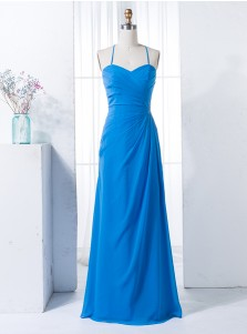 Sheath Spaghetti Straps Ruched Blue Chiffon Bridesmaid Dress with Beading