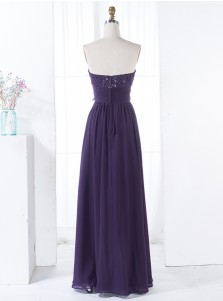 A-Line Strapless Floor-Length Grape Chiffon Bridesmaid Dress with Ruffles