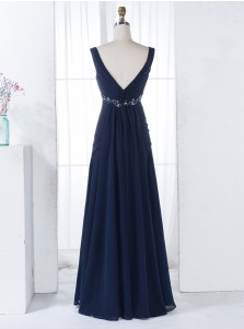 A-Line Scoop V-Back Floor-Length Navy Blue Chiffon Beaded Bridesmaid Dress