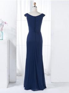 Sheath V-Neck Navy Blue Chiffon Bridesmaid Dress with Beading Split