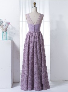 A-Line V-Neck Floor-Length Lilac Tulle Bridesmaid Dress with Flowers